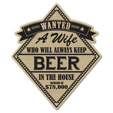 Wanted A Wife Always Keep Beer In The House Sticker Decal Funny Vinyl Car Bum...