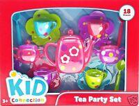 Girls Tea Party Set Bright Pink Purple Green Blue Flowers Polka Dots 18pc