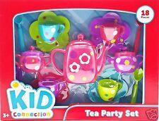 Girls Tea Party Set Pink Purple Green Blue Flowers Polka Dots 18pc New 2015