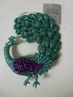 Gisela Graham Acrylic Glitter Peacock with Curved Tail Christmas Dec 12x14cms