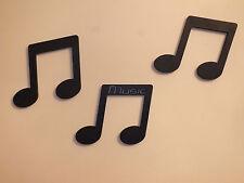"""Set di 3 LEGNO NERO NOTE MUSICALI 4 """"Muro / porta lettere / Placca / segnaletica"""