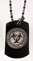 Zombie Outbreak Response Team Biohazard Dog Tag Metal Chain Necklace Jewelry