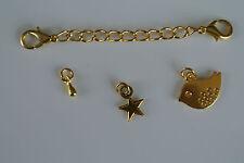Enchapado En Oro Extensor y langosta broche, Lindo Bird, Star & en forma de lágrima