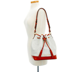 Dooney & Bourke White Cordova Fog Tan leather Drawstring Shoulder Tote bag  New
