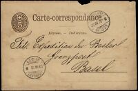"SUISSE/ SWITZERLAND 1879 ""AMBULANT / N°29"" TPO on Mi.P10 Card AARBURG to BASEL"