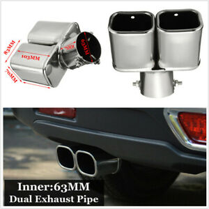 "Universal 2.5"" 63mm Bent Inlet Cars Tail Rear Exhaust Pipe Tip Muffler Cover"