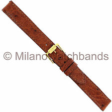 14mm Hadley Roma Genuine Reptile Tan Brown Flat Stitched Watch Band