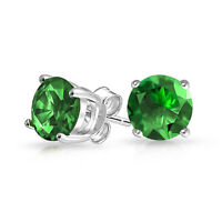 1CT Green Round Brilliant Cut CZ Stud Earrings Sterling Silver Simulated Emerald