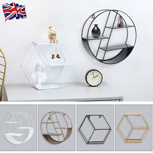 Floating Shelves Metal Wall Shelf Hanging Decorative Office Storage Display Rack