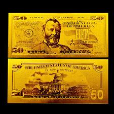 50$ US DOLLAR BANKNOTE REPLICA GOLD 24K