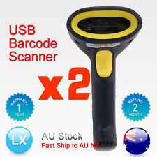 2X AU USB Hand Handheld Visible Laser Scan Barcode Bar Code Scanner Scan Reader
