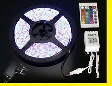 STRISCIA LED SMD 3528 RGB 300 LED 5M 5 METRI 12V IP55 ADESIVA + ALIMENTATORE 2A