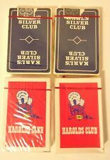 4 Decks Vintage Casino Playing Cards Harolds Club Karl's Silver Club Sealed