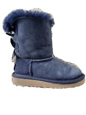 UGG AUSTRALIA Bailey Bow Toddler Girl's Size 9 Blue Suede Boots Warm Sheepskin