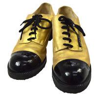 CHANEL CC Logos Bi-Color Shoes Sneakers Gold Black #38 Authentic AK31678b