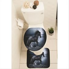 Horse Pony Foal Set of 3 Bathroom Rug Set Mat Toilet Lid Cover y70 y0274