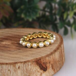 Fresh Water Pearl Eternity Ring 18k Gold Plated Engagement Band Ring For Her