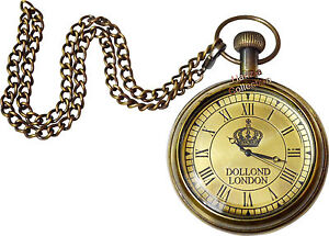 Vintage Antique/Retro-Style Brass Finish Dollond London Pocket watch With Chain