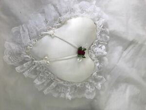 Heart with lace ring bearer pillow Burgundy flowers