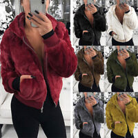 Women's Teddy Bear Coat Jacket Winter Warm Hooded Fur Fluffy Outwear Overcoat