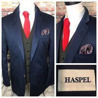 Haspel Blue Linen Sport Coat Jacket Mens Size 42 Long