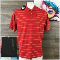 New Nike Golf Polo Striped Short Sleeve Shirt Mens Size XL Red White  S/S