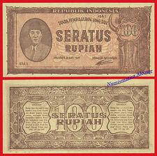 INDONESIA 100 Rupiah rupias 1947 Pick 29  EBC/  XF Tears