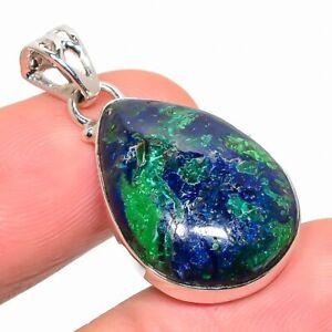 Azurite Malachite Gemstone 925 Solid Sterling Silver Jewelry Pendant 1.42