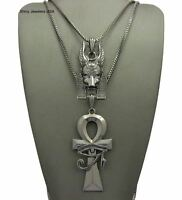 NEW EGYPTIAN ANUBIS & ANKH CROSS PENDANT & BOX CHAINS HIP HOP NECKLACE SET