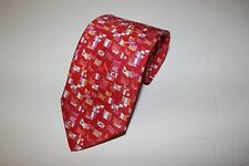 SALVATORE FERRAGAMO Tie, New With Tags, Silk, Red, Flags, Made in Italy