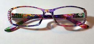 Rose Ab and Rainbow Swirls with Fine European Crystals Reading Glasses