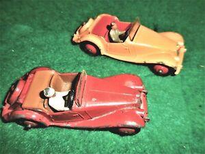 2 1950s Vintage DINKY TOY MG Midget No.108 Roadsters.