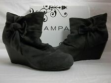 Rampage Size 8.5 M Kahlan Grey Faux Suded Ankle Boots Wedges New Womens Shoes
