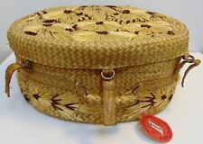 Vintage Round Wicker Straw Flower Hat Box With Lid w/Collectible Baggage Tag