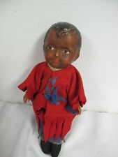 "VINTAGE ANTIQUE COMPOSITION AFRICAN AMERICAN DOLL 10"" CLOTH STUFFED  BODY"