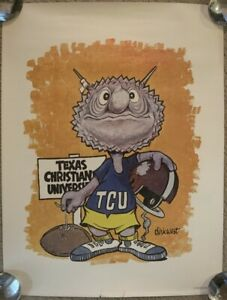 Original 1969 Artist Dirk TCU Football Art Poster Horned Frogs Fort Worth