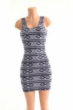 SMALL Black & White Aztec Tank Style Bodycon Clubwear Rave Dress