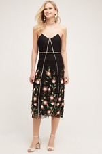 NEW Anthropologie Let Me Be Isolde Sheath Beaded and Embellished Black Dress 4P