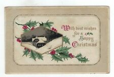 Antique Embossed Christmas Post Card Black & White House at Night Holly & Ivy