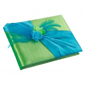 Green & Blue guest book and pen set wedding guests signatures sign in book