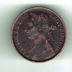 1889 Victoria One Penny coin