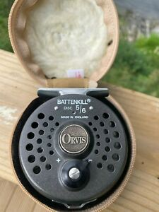 Rare Orvis Battenkill Disc 5/6 Trout Fly Reel with Case & WF5 F Made in England