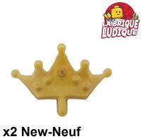 Lego - 2x Minifig headgear couronne crown tiara or doré/pearl gold 33322 NEUF