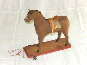 Antique Felted Platform Horse Pull Toy As Found Needs Repair 1880s