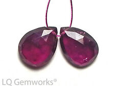 2 RUBELLITE TOURMALINE 12mm Faceted Teardrop Earring Beads AA+ NATURAL /t18