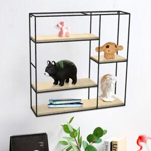 Cube Floating Shelves Metal Wooden Display Stand Storage Rack Unit Home Decor UK