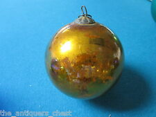 """Kugel Germany Antique Genuine Christmas ornament hand blown glass gold color, 3"""""""