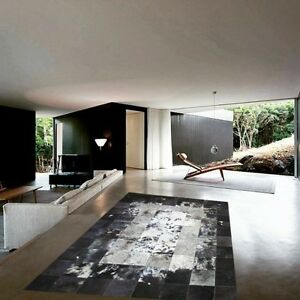 New Large Cowhide Rug Patchwork Cowskin Cow Hide Leather Carpet. Black.