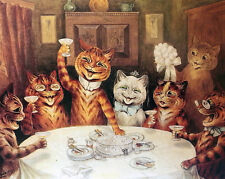 Louis Wain Cat Party Painting Albert Hoffman Psychedelic Real Canvas Art Print