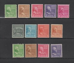 US,839-851,MNH,F-VF,PREXIE,1938 PRESIDENTIAL SERIES MINT NH,OG